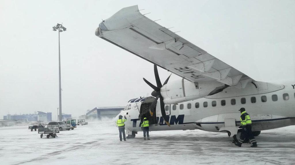 TAROM ATR 42-500 YR-ATE at Sofia Airport (January 2017)