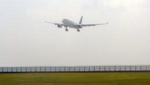 Garuda Indonesia Airbus A330 landing at Denpasar Bali Airport