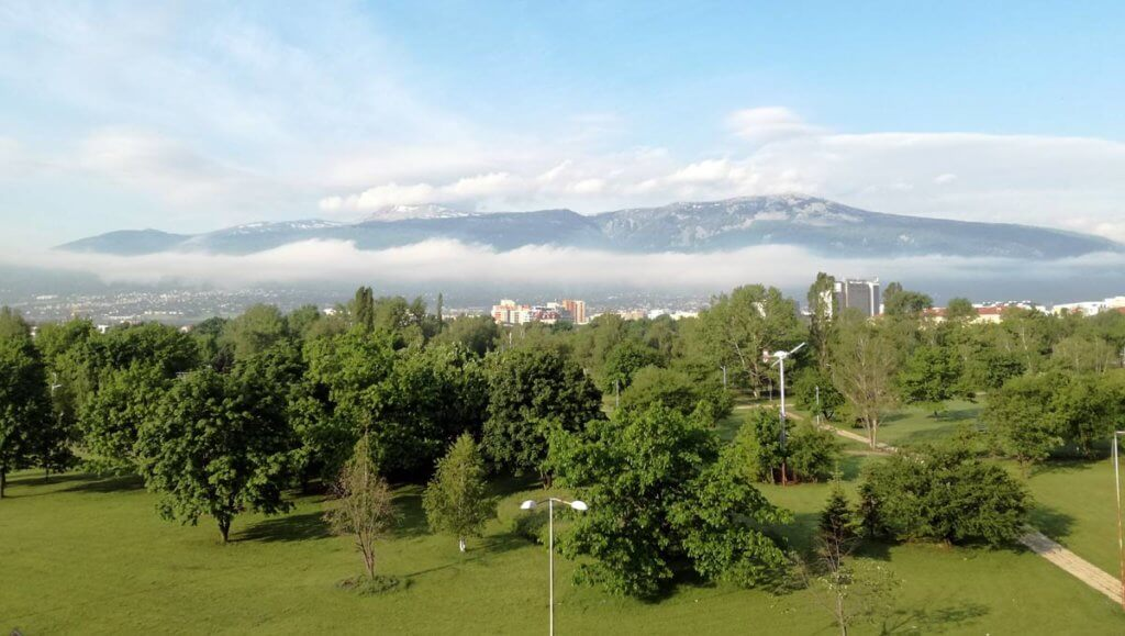 View from Vitosha Hotel to the park and mountain