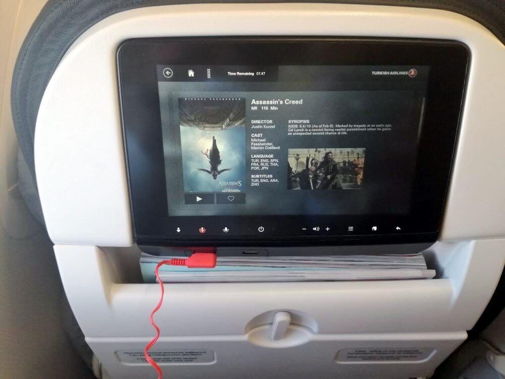 Turkish Airlines Inflight Entertainment System on Airbus A321 planes