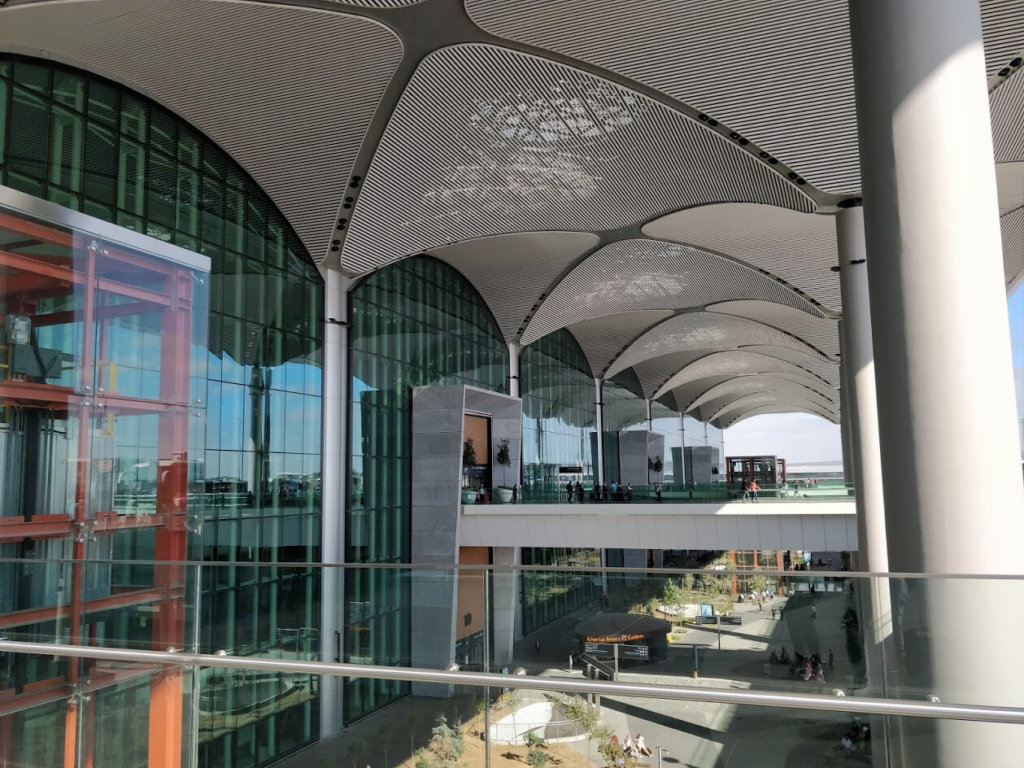 Main entrance of the departure section of the new Istanbul Airport